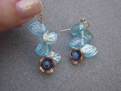 Copper Flower Dangle Earrings with Leaf Beads by AllMyLoveofCrafts, $9.00