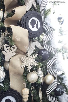 MichaelsMakers  AKA Designs Black, gold and wood christmas ornaments