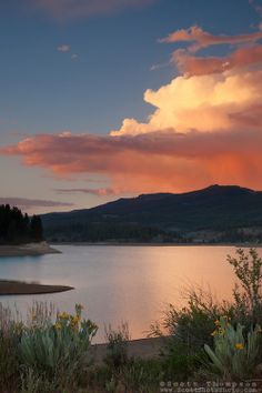 """Sunset at Boca Reservoir - This colorful cloud and mule ear flowers were photographed during sunset at Boca Reservoir near Truckee, Cali. Pretty Sky, Beautiful Sky, Beautiful Landscapes, Beautiful Places, Colorful Clouds, Sky And Clouds, Cloud Photos, Nature Aesthetic, We Are The World"