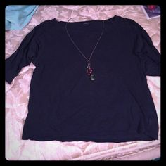 3/4 length sleeve shirt Very cute 3/4 length sleeve shirt! Cute lace detail on the color and shoulders. Color is navy blue. Would be cute with skinny jeans or white shorts! American Eagle Outfitters Tops