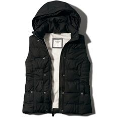 Abercrombie & Fitch Hooded Puffer Vest (£53) ❤ liked on Polyvore featuring outerwear, vests, jackets, tops, coats, black, abercrombie & fitch, pocket vest, zipper vest and zip vest