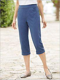 Slimtacular® Knit Denim Pull-On Capris