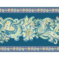 The Wallpaper Company 8 in. x 10 in. Blue and Purple Paisley and Petals Border Sample-WC1285072S at The Home Depot