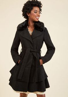 Boast Your Toastiness Coat. Shivers or chills aren't welcome where this black coat by Betsey Johnson is going - only wondrous warmth! #black #modcloth