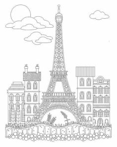 Advanced coloring eiffel tower coloring  page