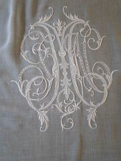 embroidery and lace needleworked monogram. Monogram Design, Monogram Fonts, Monogram Letters, Monogram Initials, Embroidery Monogram, Hand Embroidery, Machine Embroidery, Embroidery Designs, Ikea