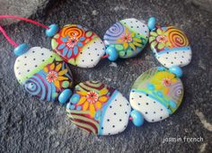 jasmin french  ' floating lilies ' lampwork beads by jasminfrench