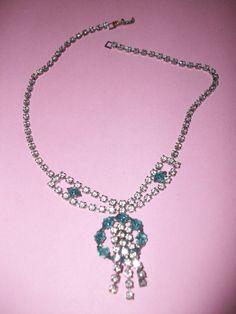 Vintage Blue & Clear Rhinestone Necklace M54 by MICSJWL on Etsy