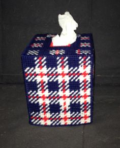 Excited to share this item from my shop: Red White and Blue Plaid Tissue Box Plastic Canvas Stitches, Plastic Canvas Tissue Boxes, Plastic Canvas Patterns, Kleenex Box, Tissue Box Covers, Blue Plaid, Red And White, Etsy Shop, Canvas Ideas