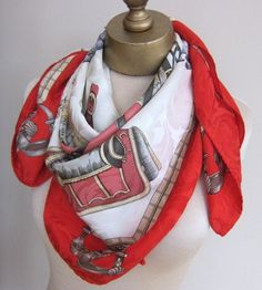 Equestrian silk scarf 1980s large red by foulardfantastique, $28.00