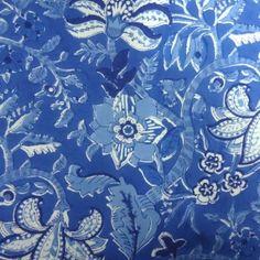 20 Sheeting Cotton Fabric Hand Block Printed Anarkali BLUE SKU 11111 | Block Printed Fabric By Yard