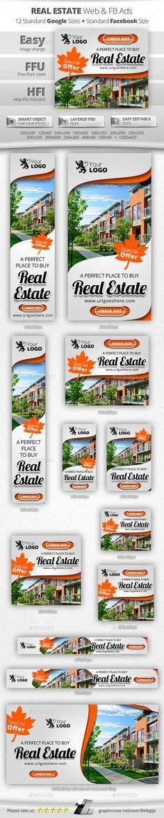 Real Estate Web & FB Ads Template PSD #banner #webbanner #design Download: http://graphicriver.net/item/real-estate-web-fb-ads/10646110?ref=ksioks