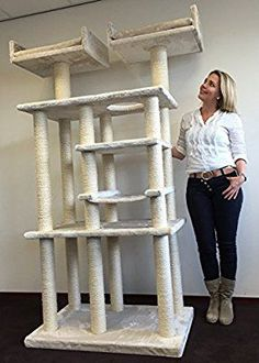 Cat Tree Cat Palace Elite Cream White cat scratcher scratching post activity centre for large cats. European Quality production from RHRQuality