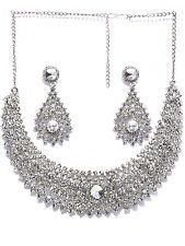 Indian Bollywood Jewelry Silver Tone Diamante Necklace Set Wedding Bridal Item