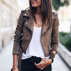 Cheap jacket women autumn, Buy Quality jacket women directly from China basic jackets Suppliers: Faux Leather Suede Jackets Women Autumn Short Slim Basic Jackets Female Long Sleeve Coat 2017 Winter Cool Motorcycle Streetwear Brown Jacket Outfit, Leather Jacket Brown, Leather Coats, Mode Outfits, Casual Outfits, Today's Fashion Trends, Fashion Ideas, Fashion Lookbook, Best Leather Jackets