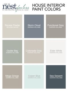 Une palette de couleurs sobres pour un intérieur chic. Find information on each one of the house paint colors I used. Name, brand, and where to find them. Read about why we chose each specific color.