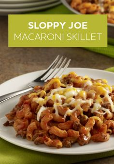 Sloppy Joe Macaroni Skillet is an easy, one-pot meal that you can make in 30 minutes.