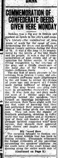 YesteryearfromJune 1918: Confederate memorial commemorated on Square | Yesteryear | Denton Record-Chronicle