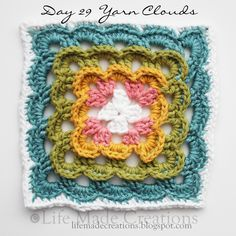 Yarn clouds crochet block.