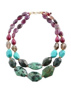 I love these stones together!  You have African turquoise, indian agate, purple agate , smoky quartz and raspberry jasper.  By Barse Jewelry