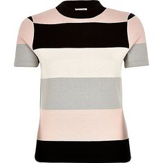 Get set for the new season with our collection of women's tops. From crop tops to going out tops and off the shoulder styles, find all our tops here. Turtleneck T Shirt, Striped Turtleneck, Striped Tee, T Shirt Vest, White Jersey, Pink Stripes, White Tees, Workout Tops, Pink Tops