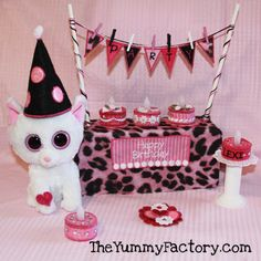 7fcf9d5c868 Beanie Boo Party Kitty with embroidered light up cakes Ty Beanie Boos