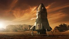 Steve Burg did part of the concept art for sci-fi blockbuster The Martian his main focus was the Mars Ascent Vehicle (MAV). Space Projects, Space Crafts, Mars Colony, Kerbal Space Program, The Martian, Galaxy Wallpaper, Empire State Building, Cosmic, Habitats