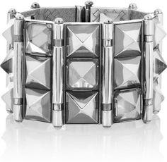 Bottega Veneta Silver Rock Crystal and Sterling Silver Studded Bracelet