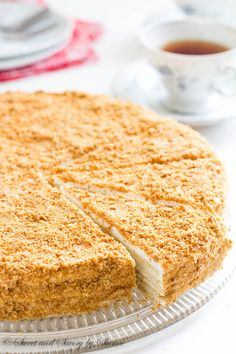 "Russian Cake ""Napoleon"" Buttery, flaky pastry layers generously filled with sweet cream filling.This Russian cake Napoleon is the sweetest taste from my childhood. Russian Cakes, Russian Desserts, Napoleon Cake Russian, Russian Pastries, Ukrainian Recipes, Russian Recipes, Ukrainian Food, Sweet Recipes, Cake Recipes"