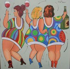 Dikke Dames Dansing Girls by Roel van artist Plus Size Art, Fat Art, Chubby Ladies, Fat Women, Naive Art, People Art, Whimsical Art, Beach Art, Acrylic Art