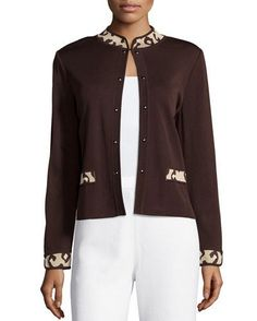 Contrast-Trim Open-Front Knit Jacket, Coffee/Hazelnut/Cream