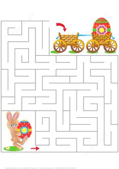 Maze game for kids with bunny and painted eggs. Easter maze game or activity pag , Easter Puzzles, Easter Worksheets, Easter Printables, Easter Games, Easter Activities, Spring Activities, Maze Games For Kids, Mazes For Kids, Spring Coloring Pages