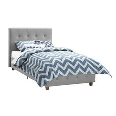 DHP Rose Grey Linen Upholstered Twin Bed | Overstock.com Shopping - The Best Deals on Kids' Beds