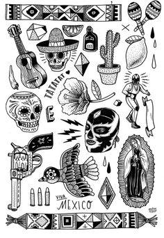 dia de los muertos mexican temporary tattoo illustrations