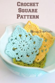 Crochet Granny Square Patterns Mango Tree Crafts: Crochet Square Pattern and Photo Tutorial Crochet Squares, Crochet Motifs, Granny Square Crochet Pattern, Crochet Stitches, Granny Squares, Crochet Granny, Granny Square Tutorial, Crochet Blocks, Crochet Doilies