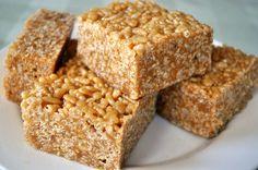 Peanut Butter Crispy Treats (made w/ brown rice syrup) #vegan