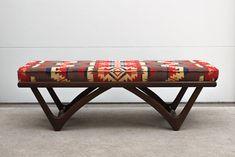 Vintage Ottoman with Pendleton Upholstery