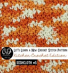 Dishcloth #5 in the Kitchen Crochet Edition of Let's Learn a New Crochet Stitch. This free pattern uses single crochet and double crochet stitches and a simple edging.