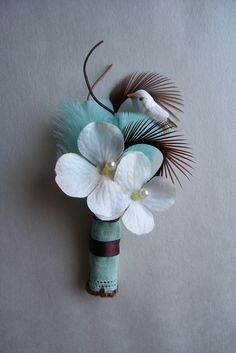 Tiffany Blue and Chocolate Brown Wedding Boutonniere\/Corsage, Vintage . $10.00, via Etsy.