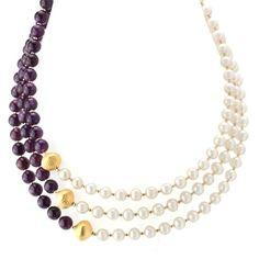 Amethyst & Pearl Necklace-346364  - Elisa Ilana