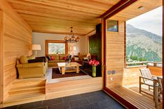 wooden style chalet living room for tourists