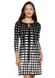On ideeli: TAHARI ARTHUR S. LEVINE Elbow Sleeve Fading Squares Dress