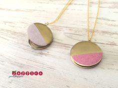 Medaillonketten - Medaillonkette Fotomedaillon Kette lang geo rose - ein Designerstück von japples bei DaWanda