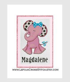 Customized Cross Stitch Pattern Pink Elephant by LefojaCrossStitch