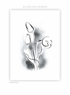 Tulips art print. Black and white ink sketch. Flowers drawing. Watercolor sketch. White Ink, Black And White, My Flower, Flowers, White Orchids, Watercolor Sketch, Tulips, Sketches, Art Prints