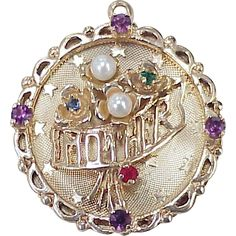 """Vintage 14K Gold Jeweled Charm ~ Mother, circa 1950's.. This reps thy r charmed with Dave & I direction of CBP & Domingo and Pico Union think it is golden. Thank you! Please help 'Fund Us"""" !!"""