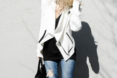 HELMUT LANG SUGAR JACKET WHITE | AG THE ANKLE SKINNY DESTROYED JEANS | ARITZIA WILFRED FREE DEVINETTE L/S T-SHIRT BLACK | PRISM MOSCOW SUNGLASSES CREAM TORTOISE | ALEXANDER WANG ROCCO BLACK PATENT