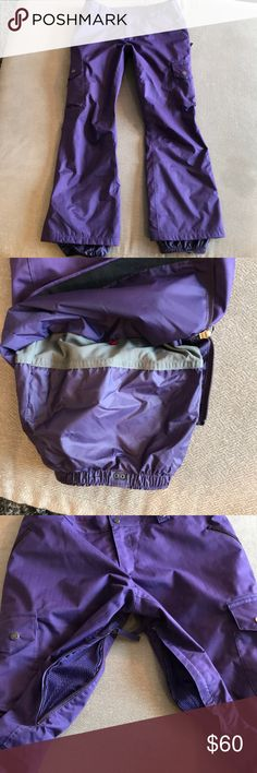 Women's Burton Dry Ride Snowboard/Ski Pants Sz. L Women's Burton Dry Ride Ski/Snowboard Pants! These are awesome Pants! Size Large, color purple(to match the coach I also have listed). These pants have been worn for a couple of seasons, but I'm pretty gentle on my ski wear, since I'm not a dare devil! There is some wear on the back hem of both legs, but otherwise everything is perfect on them. There are plenty of pockets, they are warm and comfortable. I would say they would fit a size 8 or…