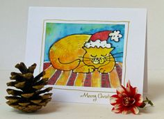 Special silk Christmas card. Cat on striped mat. by MaureenMaceArt