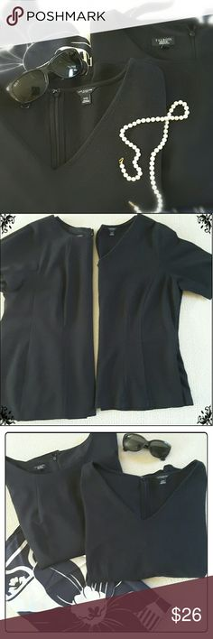 Bundle of Two Black Structured Tops These two tops are ready for your business casual wardrobe. One is from Ann Taylor and is a ponte knit with a slight peplum and a vee neckline. The other is from Talbots and is crepe fabric, fully lined with a jewel neck and zippered back. The AT top is size XXL and the Talbot's top is 16WP. Very similar fit.   Tops